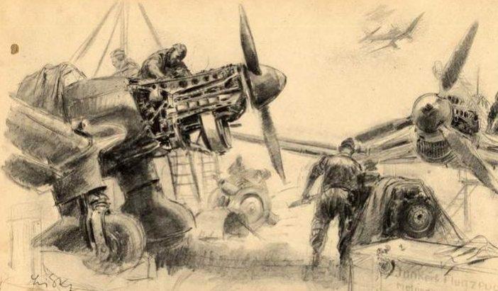 Liska Hans. Ремонт Ju-87.