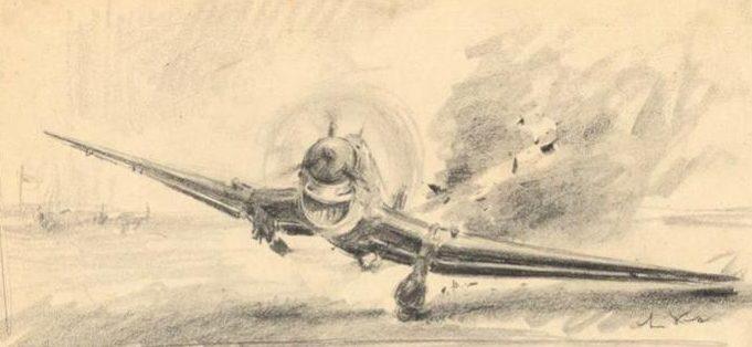 Liska Hans. Посадка Ju-87 на одно колесо.