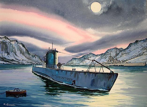 Guyot Michel. Подлодка VII серии и линкор «Bismarck».