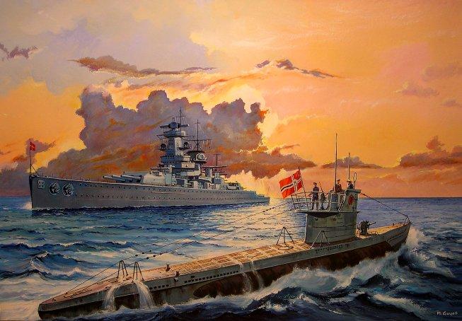 Guyot Michel. Подлодка VII серии и крейсер «Graf Spee».