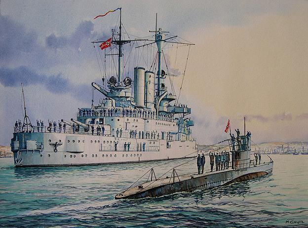 Guyot Michel. Подлодка U-47 на фоне броненосца.