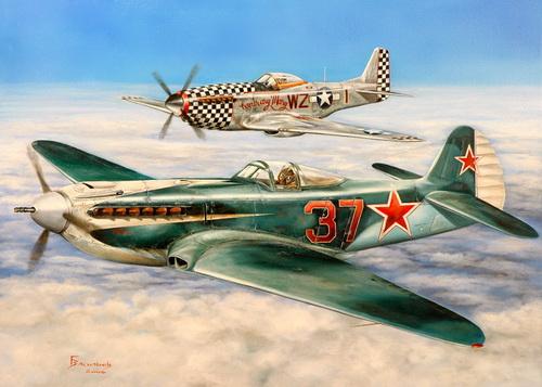 Васильев Глеб. Як-9УП и Р-510 «Мустанг». Германия 1945 год.