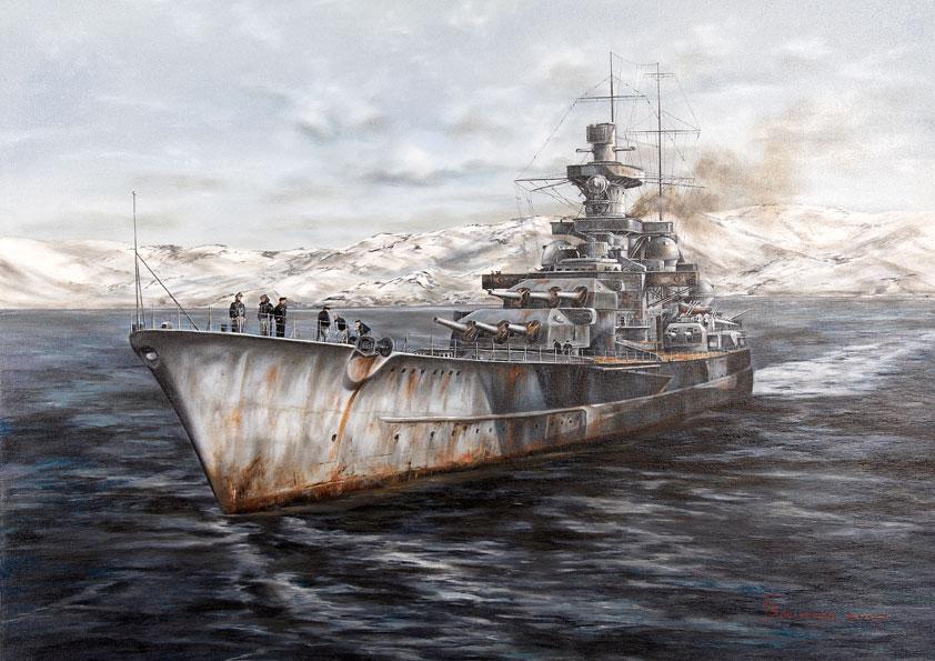 Васильев Глеб. Линкор «Scharnhorst». Норвегия 1943 года.