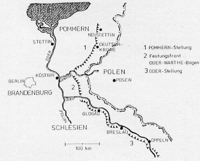 Схема укреплений восточной границы Германии. Под №3 обозначена линия Oderstellung.