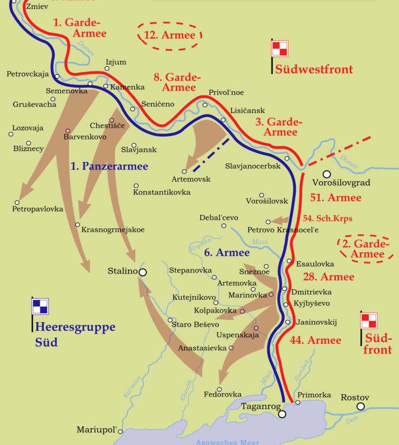 План наступления Южного и Юго-Западного фронтов 1943 г. в районе линии Миус.
