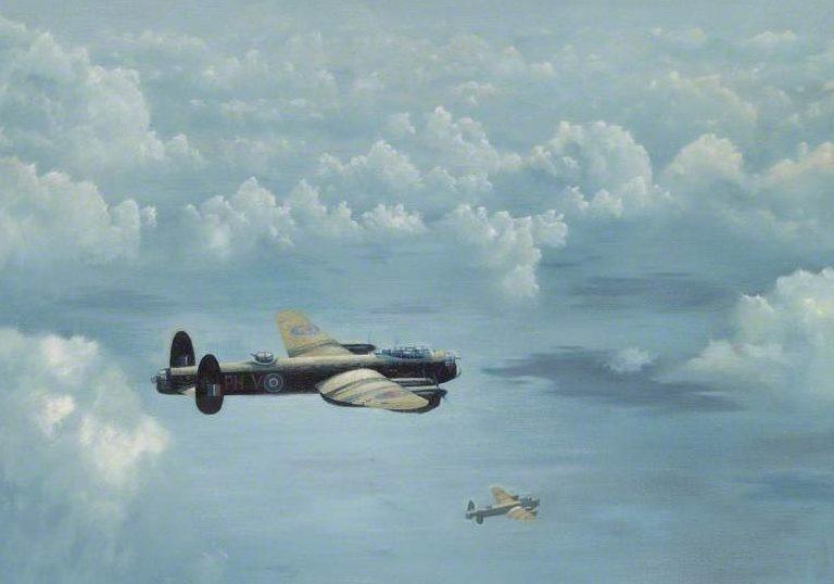 Withams Brian. Бомбардировщики «Lancasters» над морем.