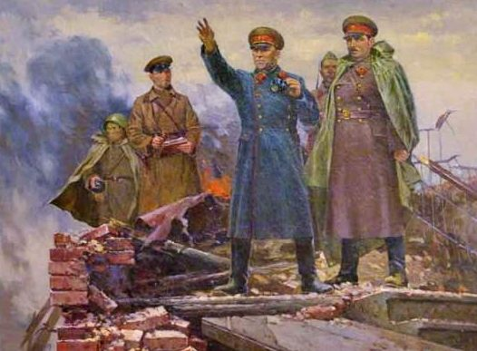 Семенов Алексей. Г.К. Жуков и И.И. Федюнинский на Пулковских высотах 1941 г.