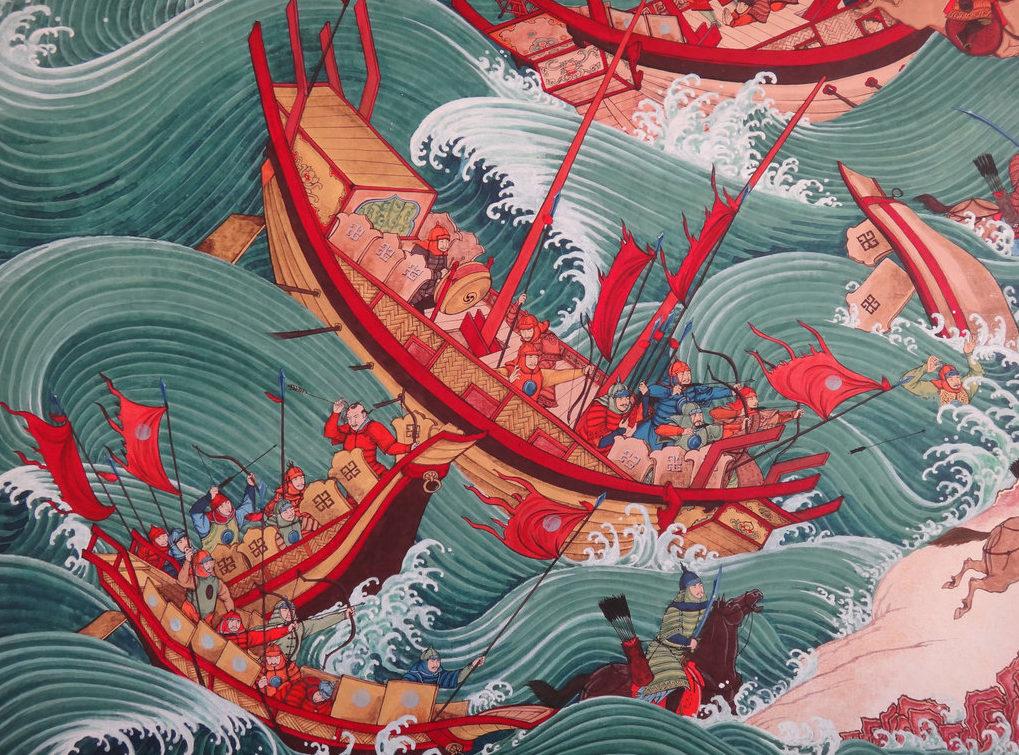 Так художник изобразил действия камикадзе или «божественного ветра».
