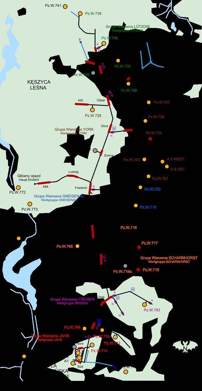 План центральной части линии с тоннелями в районе Мидзыржецки.