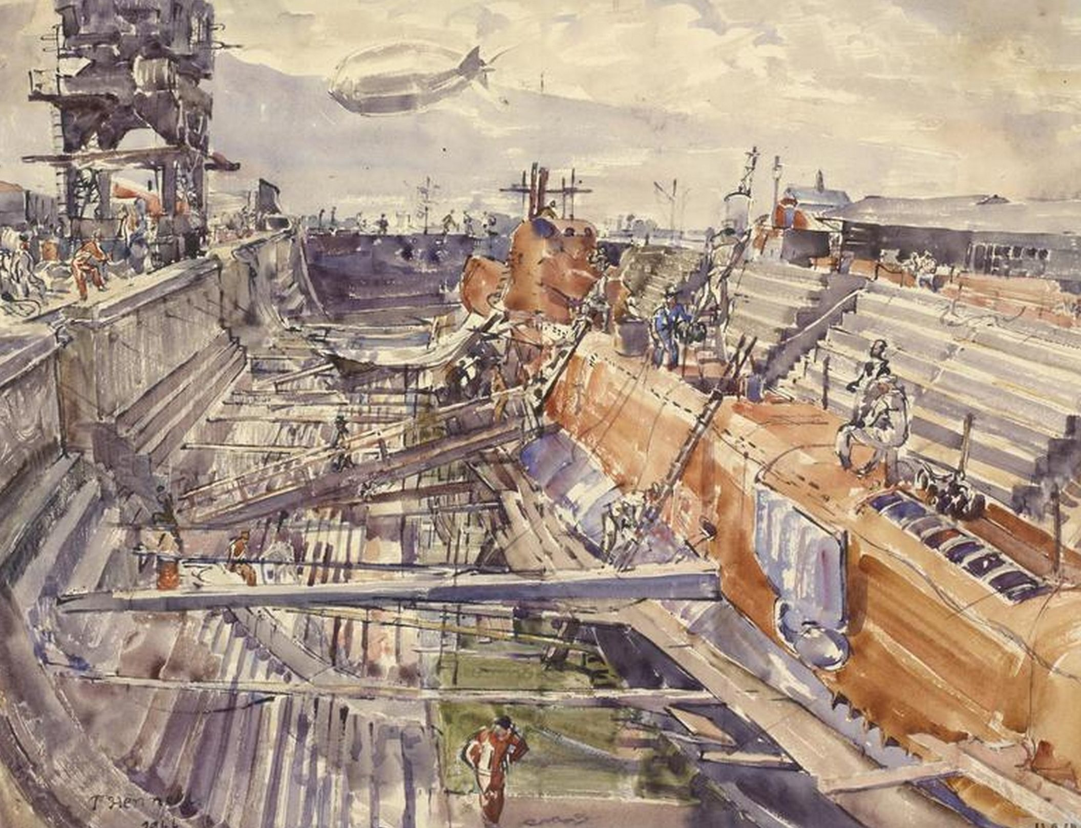 Barclay Thomas. Подводная лодка Rorqual в сухом доке Портсмута.