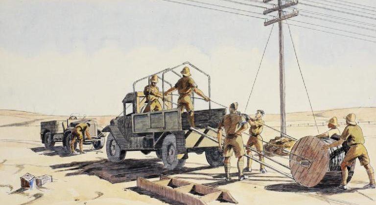 Beddoes Ivor. Прокладка кабеля военной связи.