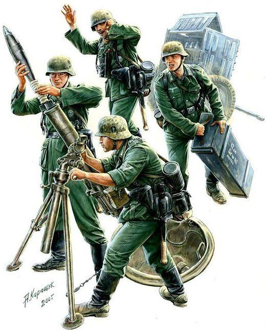 Каращук Андрей. Расчет 120-мм Granatwerfer.