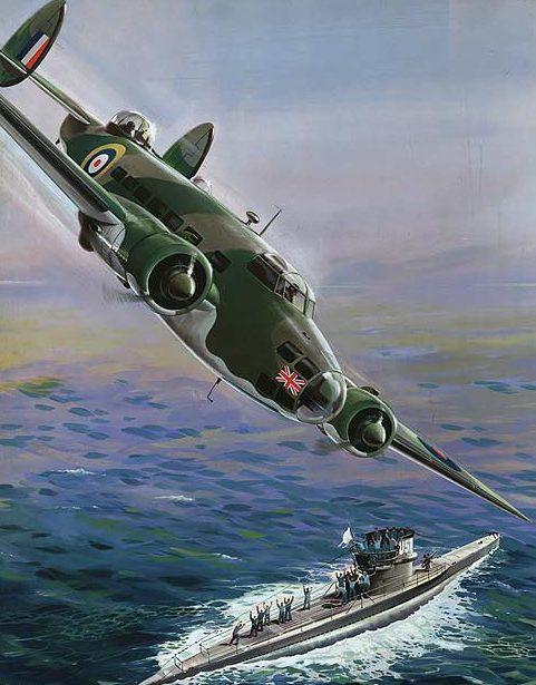 Krogman W. Британский «Lockheed Hudson» атакует немецкую подлодку «U-570».