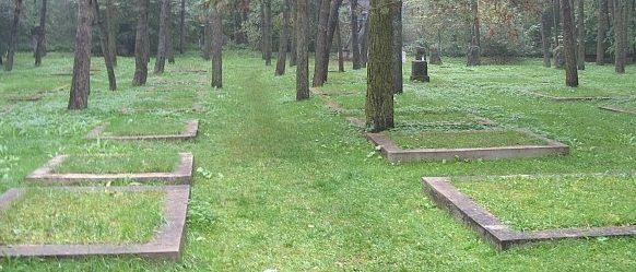 Братские могилы на месте захоронения.