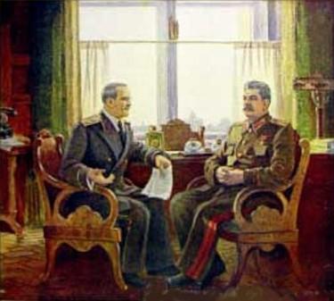 Герасимов Александр. Сталин и Молотов в Кремле.