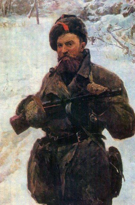 Серебряный Иосиф. Портрет партизана В.Е. Тимачева.