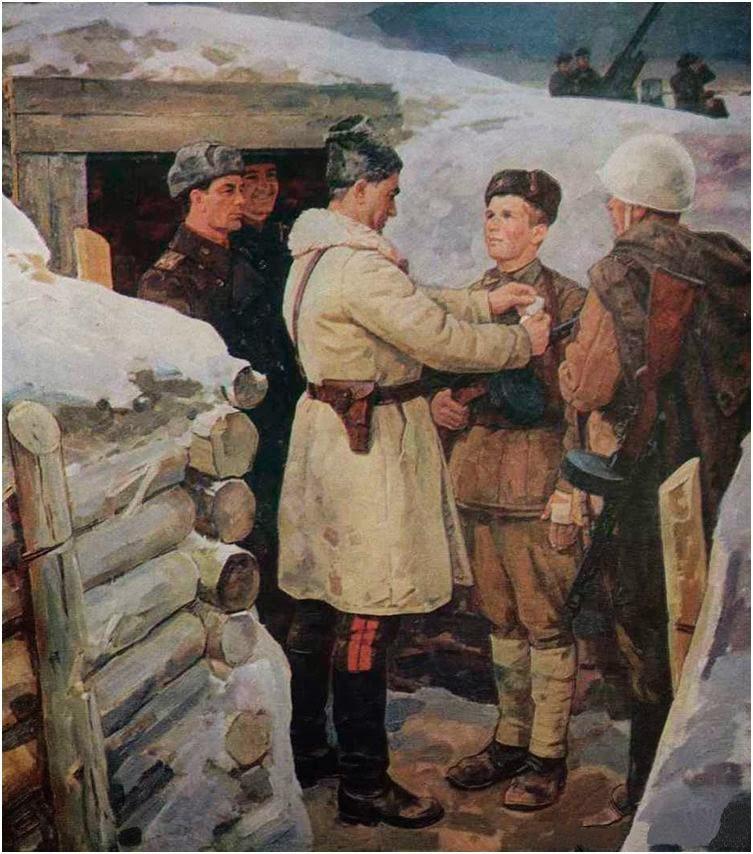 Вовк А. Награда за отвагу солдату.