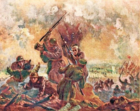 Соловьев М. Рукопашный бой в траншеях японцев во время штурма высоты Песчаной. Халхин-Гол.