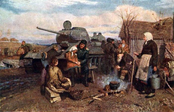 Медведев В. В освобожденной деревне.