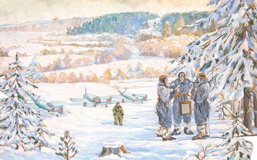 Мазанов Леонтий. Летчики полярной авиации. 1942 год.