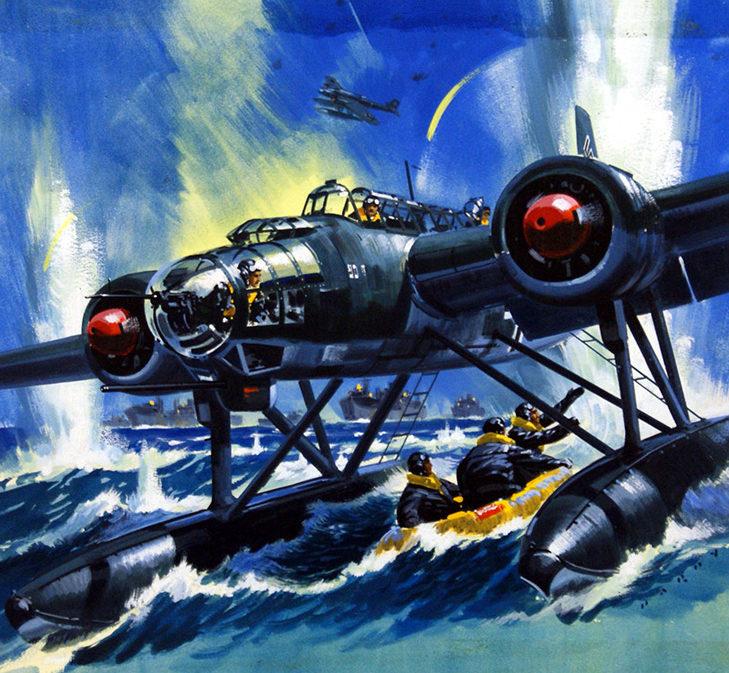 Hardy Wilf. Гидросамолет Hе115 спасает сбитый экипаж.