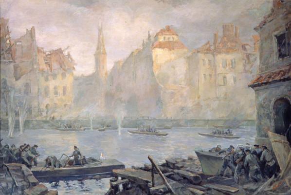Морозов В. Катера Днепровской флотилии форсируют Шпрее в Берлине.