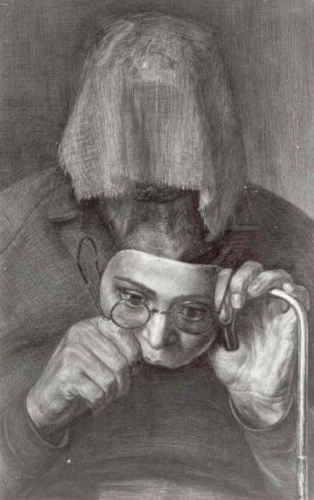 Добров Геннадий. Портрет женщины с сожженным лицом.