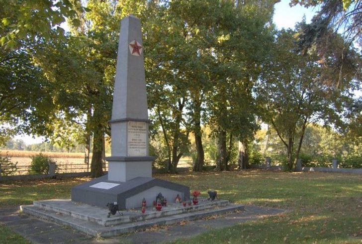 с. Хшовице, Опольский повят. Памятник на кладбище советских воинов, погибших в боях за село.