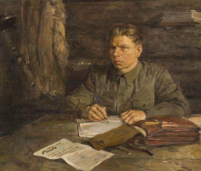 Серов Владимир. Портрет редактора партизанской газеты М.Г.Абрамова, 1942.