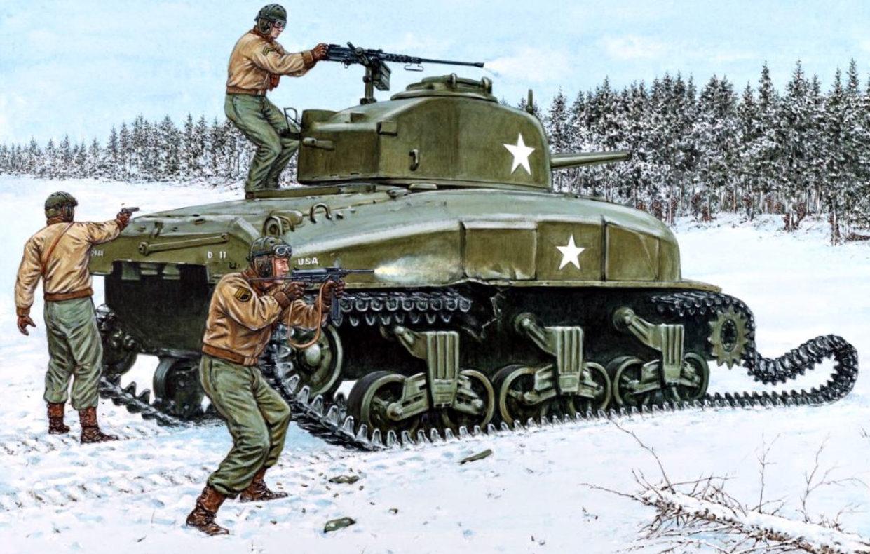 Hook Adam. Танк Sherman M-4A1. Арденны.
