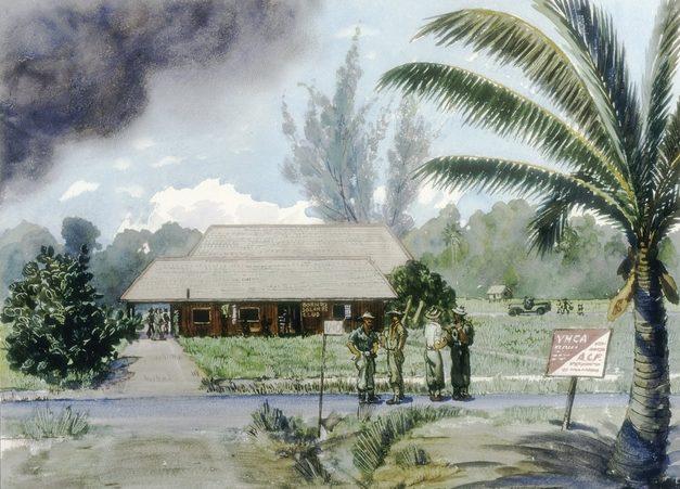 Flett James. Солдатский клуб в Borneo.