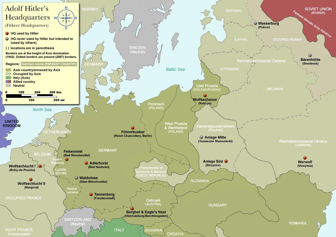 Карта штаб-квартир Гитлера.