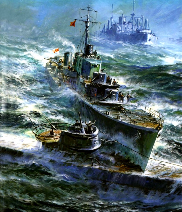 Заикин Александр. Миноносец «Hesperus» таранит подлодку «U-357».