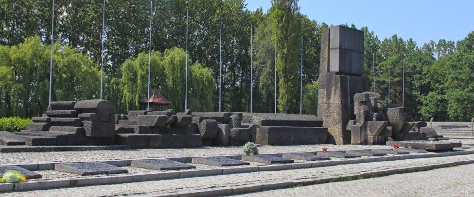 г. Освенцим. Памятник жертвам фашизма. Установлен между руинами крематория и был открыт в 1967 году.