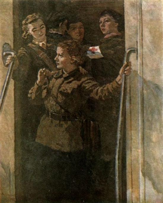 Одинцов Владимир. Девушки едут на фронт.
