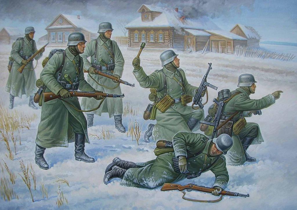 Федоров Олег. Немецкие пехотинцы в бою.