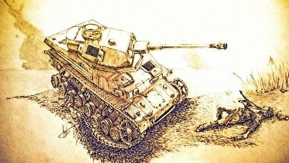 Королев Никита. Танк Pz-IV после подрыва на противотанковой мине.
