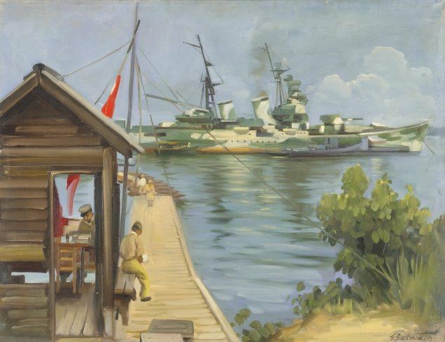 Buckmaster Ernest. Крейсер «Myoko» у сингапурской военно-морской базы.