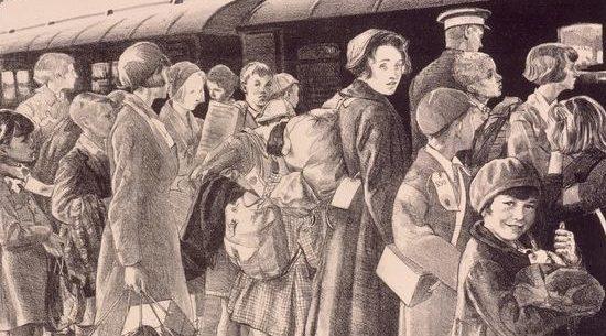 Gabain Ethel. Эвакуация детей.