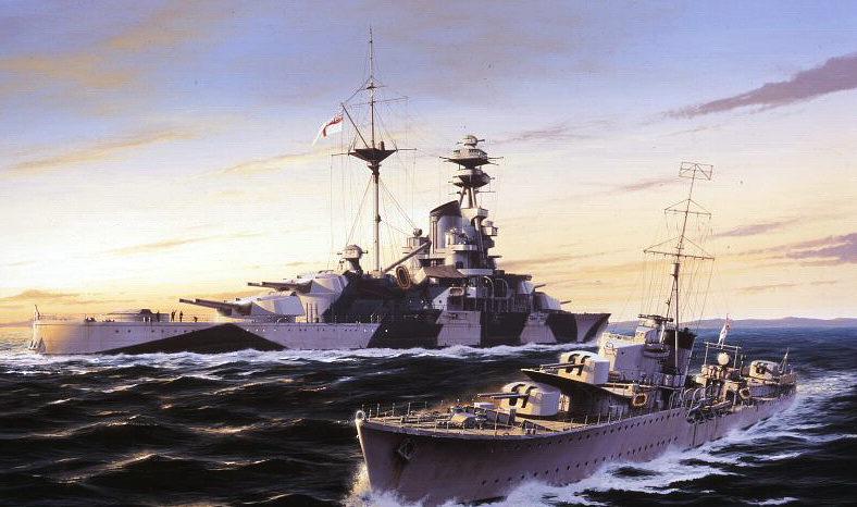 Berryman Ivan. Легкий крейсер «Kelly» и линкор «Royal Sovereign».