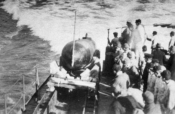 Запуск «Кейтэн» на испытаниях с легкого крейсера «Китаками».