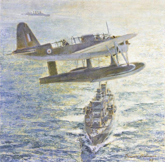 Adams Dennis. Гидросамолет над крейсером.