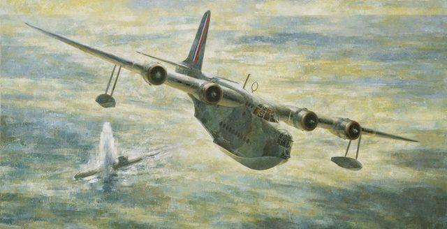 Adams Dennis. Летающая лодка атакует подлодку.