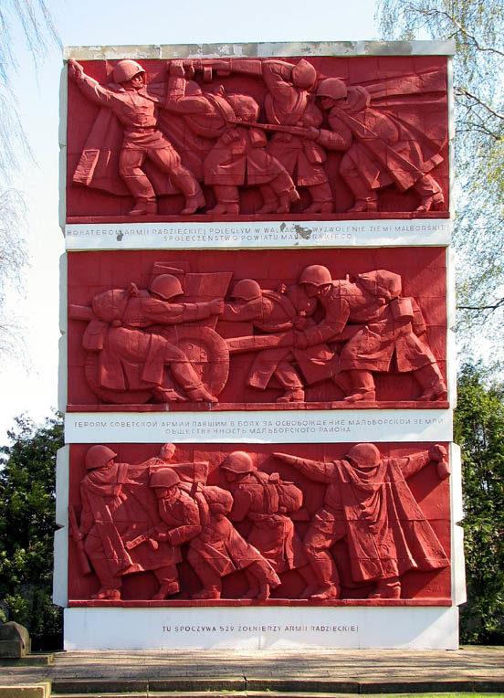 г. Мальборк. Памятник на братской могиле по улице 500-летия, в которой похоронено 529 советских воинов, в т.ч. 455 неизвестных, погибших в годы войны.