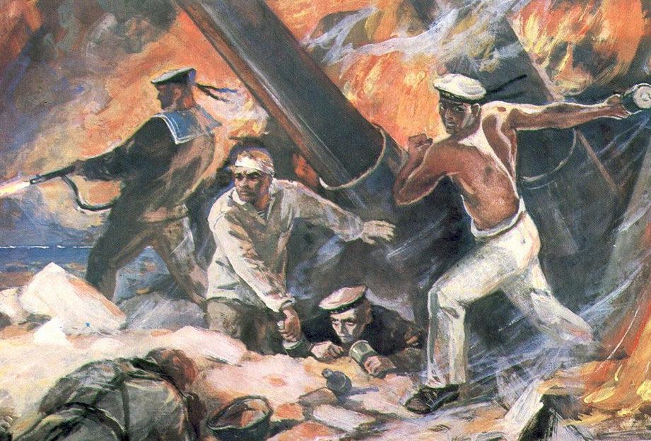 Печатин Валентин. Подвиг артиллеристов 30-й береговой батареи.