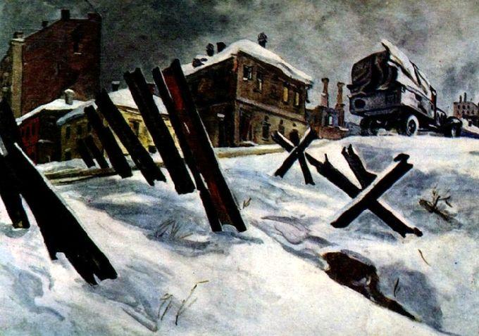 Дейнека Александр. Окраина Москвы, 1941.