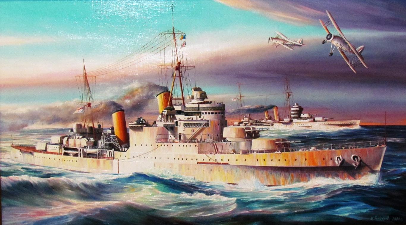 Гончаров М. Крейсера «Манчестер» и «Йорк» в «колониальной» окраске.