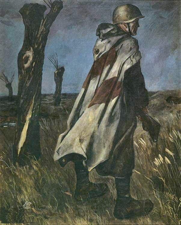 Дейнека Александр. Солдат в плащ-палатке. 1942 год.