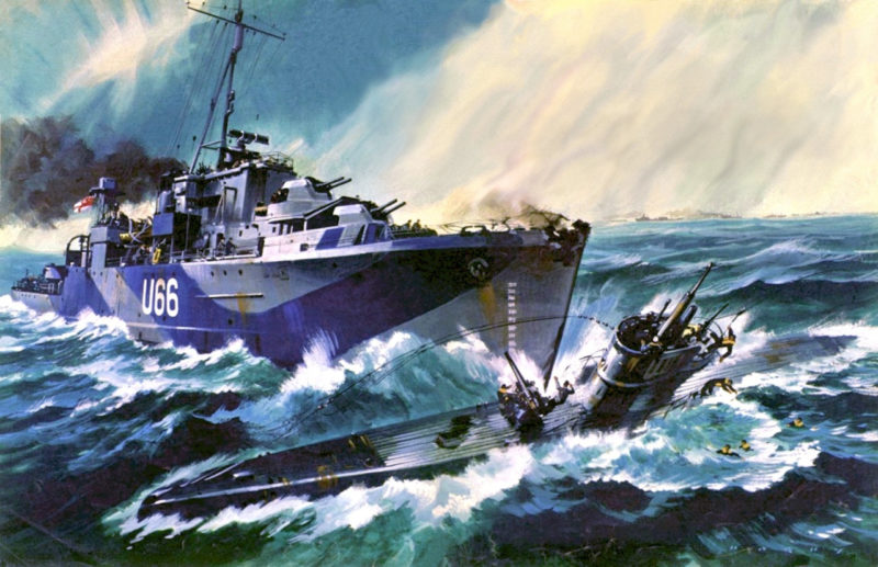Hunt Geoff. Шлюп «Starling» таранит подлодку U-119.