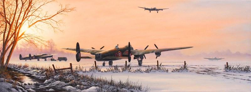Glow Winter's. Бомбардировщик Lancasters на взлете.